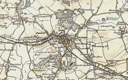Old map of Devizes in 1898-1899