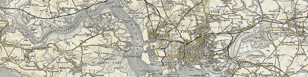 Old map of Devonport in 1899-1900