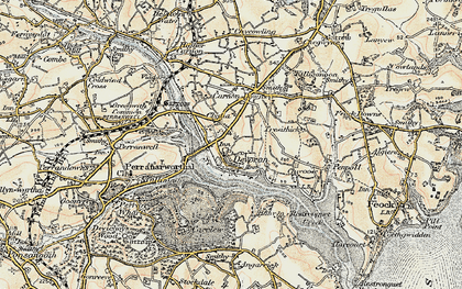 Old map of Devoran in 1900