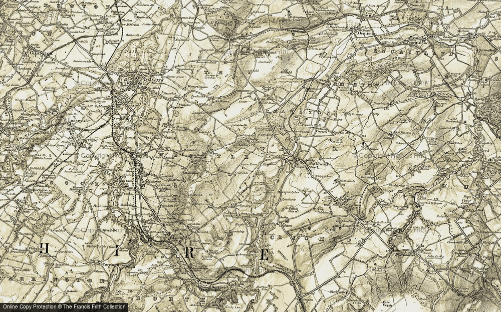 Old Map of Historic Map covering Woodhead in 1903-1904