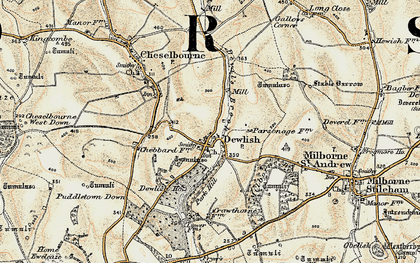 Old map of Whitelands Downs in 1897-1909
