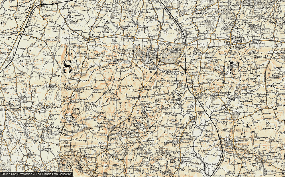 Old Map of Historic Map covering Woodmans Stud in 1898