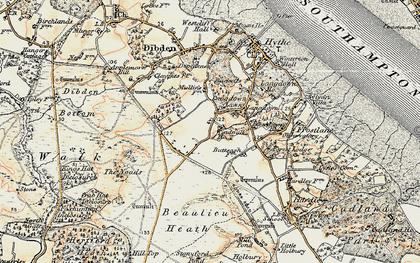 Old map of Dibden Purlieu in 1897-1909