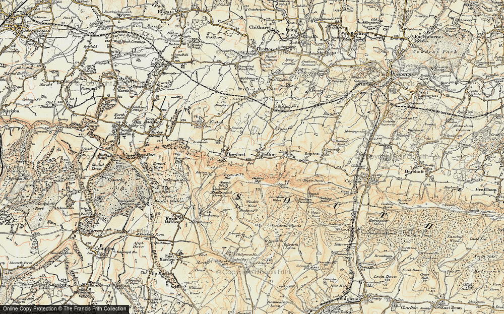 Old Map of Historic Map covering Linchball Wood in 1897-1900