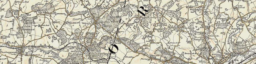 Old map of Digswell in 1898-1899