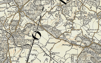 Old map of Digswell Water in 1898-1899