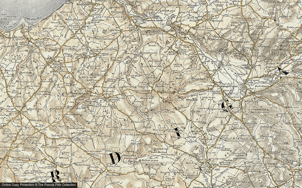 Old Map of Historic Map covering Afon Feinog in 1901-1903