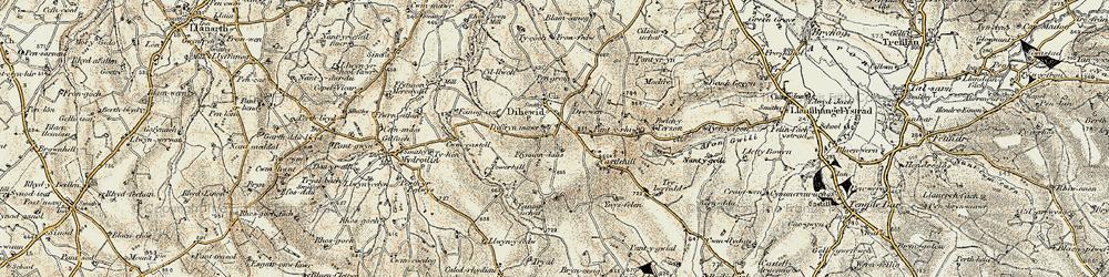 Old map of Afon Feinog in 1901-1903