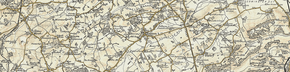 Old map of Dilwyn in 1900-1903