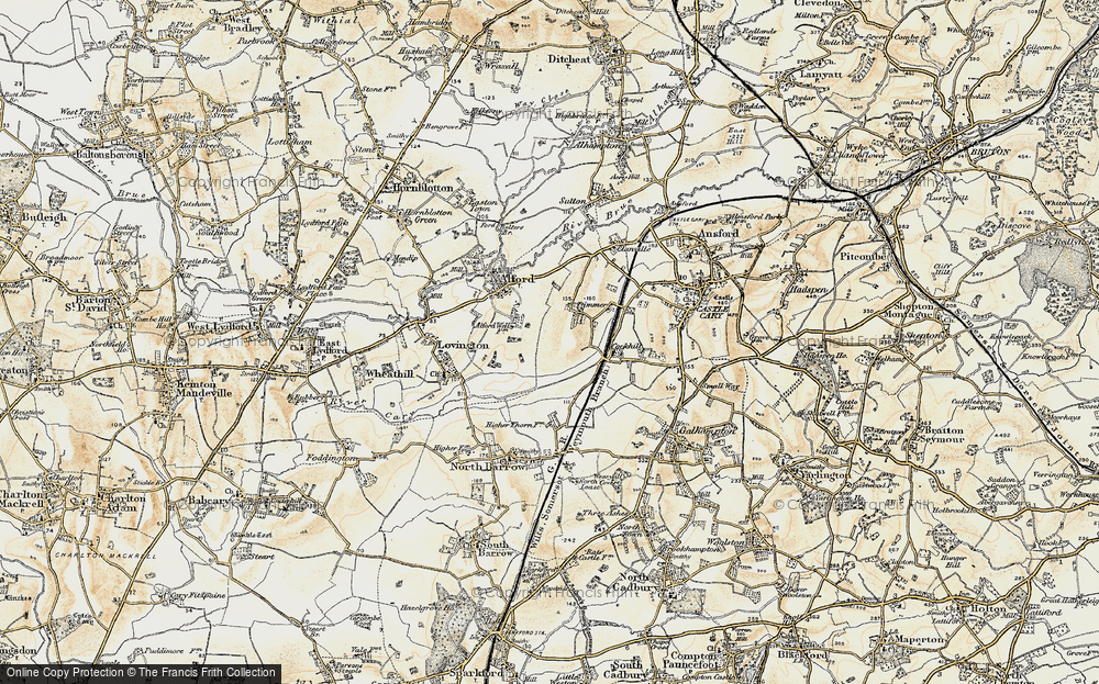 Old Map of Historic Map covering Alford Fields in 1899