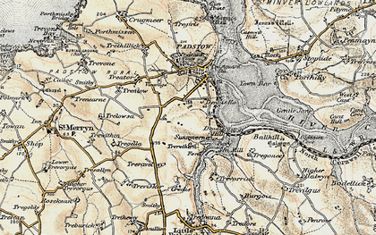 Old map of Dinas in 1900