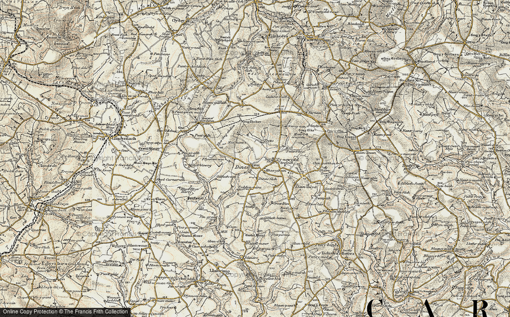 Old Map of Historic Map covering Afon Cynin in 1901