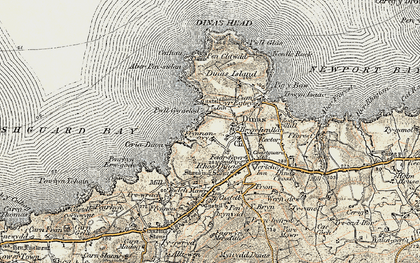 Old map of Aber Pensidan in 1901-1912