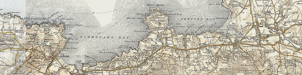 Old map of Aber Pensidam in 1901-1912
