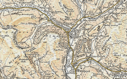 Old map of Afon Cerist in 1902-1903