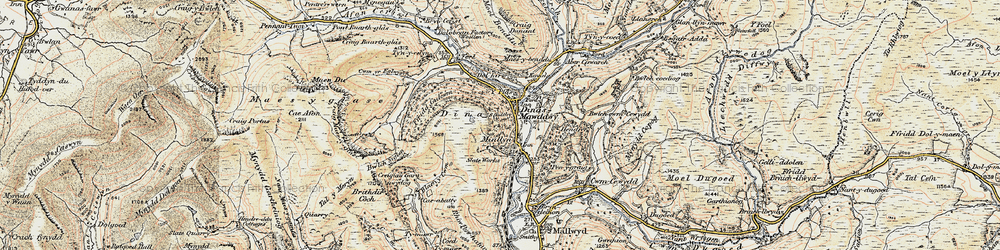 Old map of Dinas-Mawddwy in 1902-1903