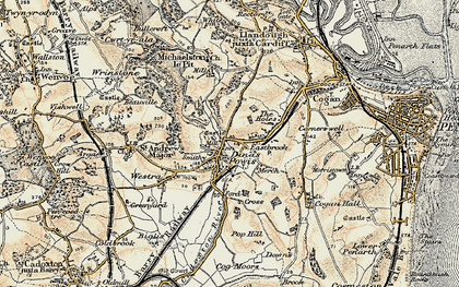 Old map of Dinas Powis in 1899-1900