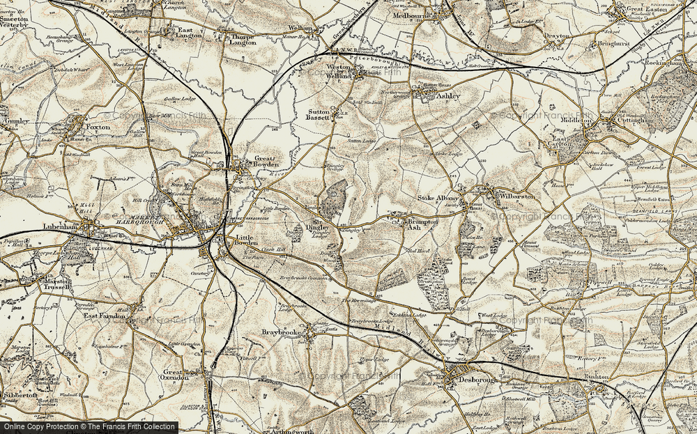 Old Map of Historic Map covering Woodlands in 1901-1902