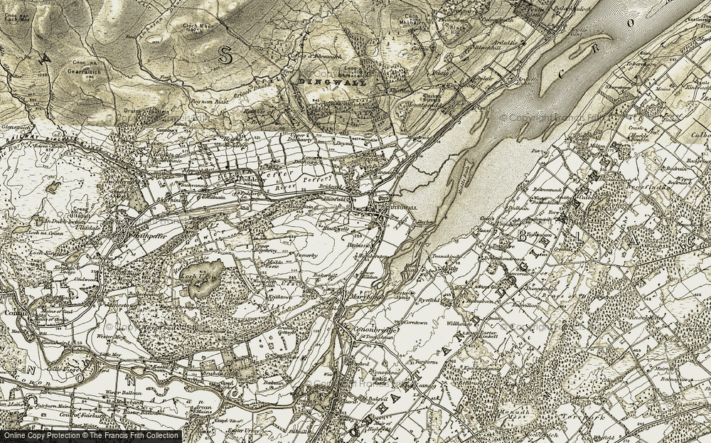 Old Map of Dingwall, 1911-1912 in 1911-1912