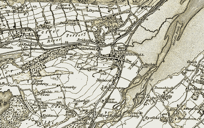 Old map of Dingwall in 1911-1912