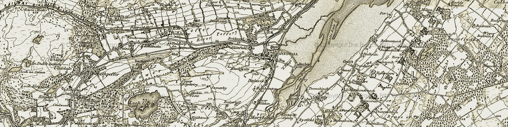 Old map of Wester Blackwells in 1911-1912