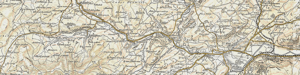 Old map of Dinmael in 1902-1903