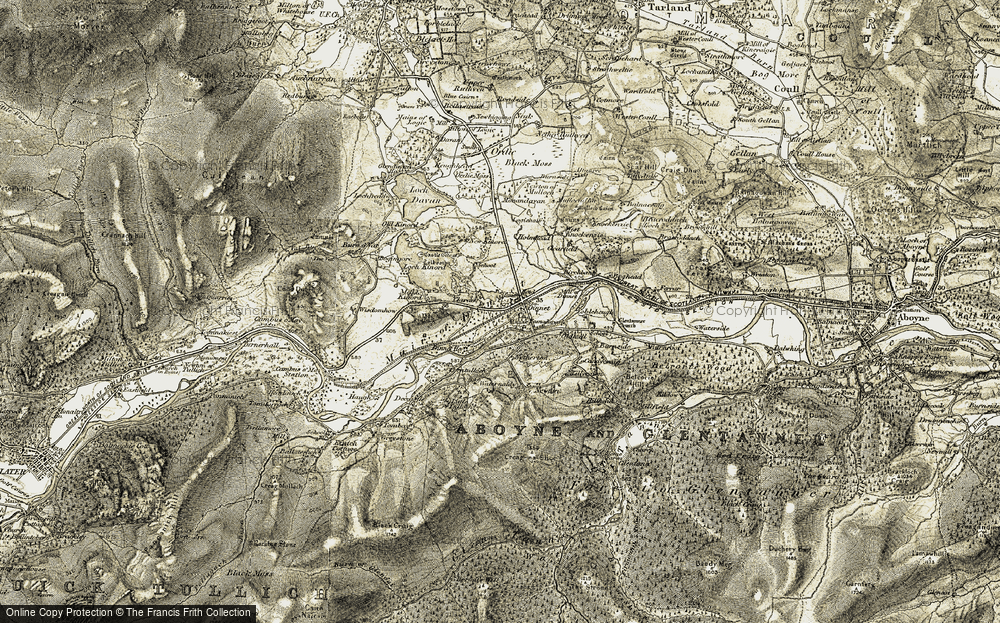 Old Map of Historic Map covering Loch Kinord in 1908-1909