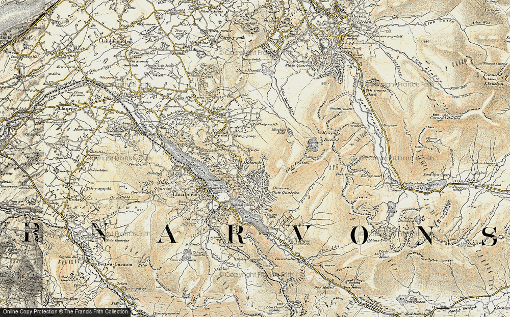Old Map of Historic Map covering Afon Dudodyn in 1903-1910