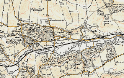 Old map of Dinton in 1897-1899