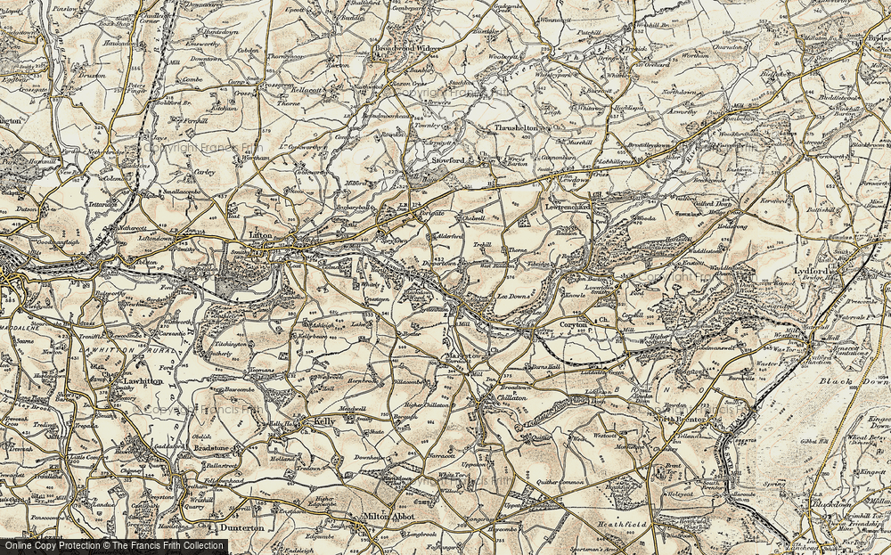 Old Map of Historic Map covering Allerford in 1899-1900