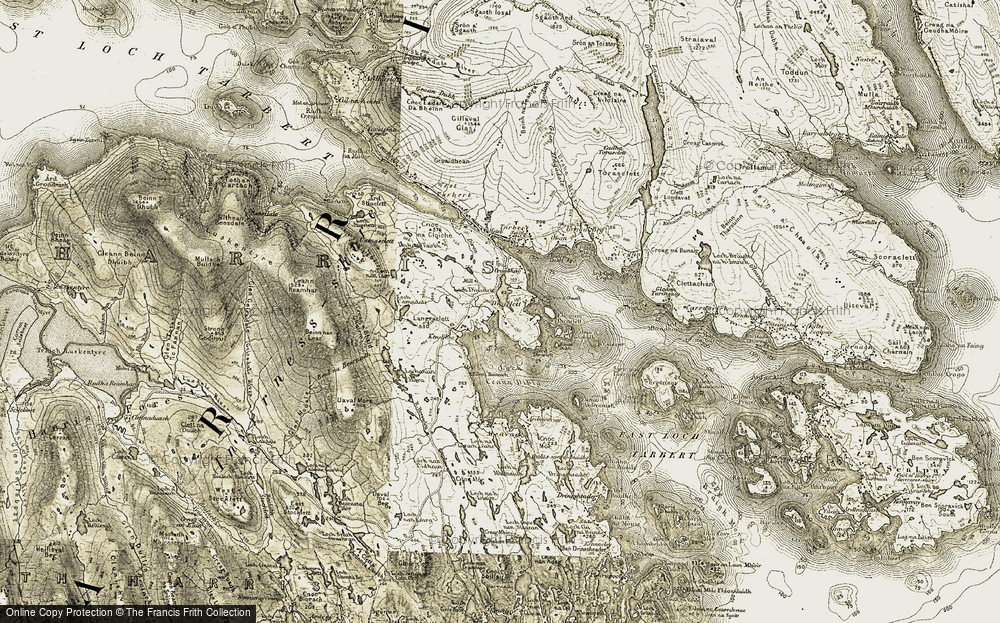 Old Map of Historic Map covering Bàgh Diracleit in 1908-1911