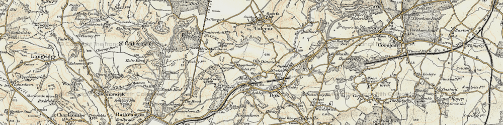 Old map of Ditteridge in 1899