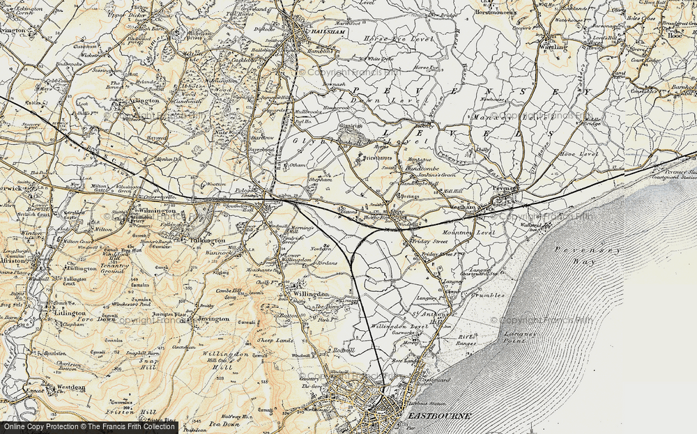 Old Map of Historic Map covering 1066 Country Walk in 1898