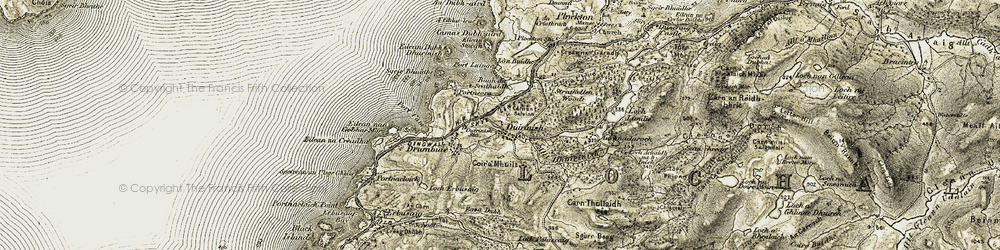 Old map of Achnandarach in 1908-1909
