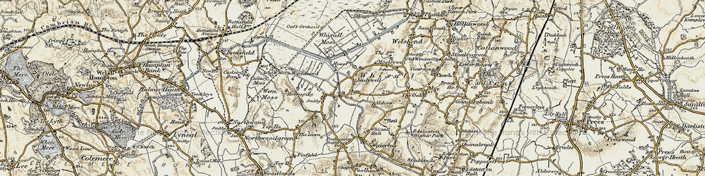 Old map of Whixall Moss in 1902