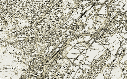 Old map of Balmore in 1908-1912