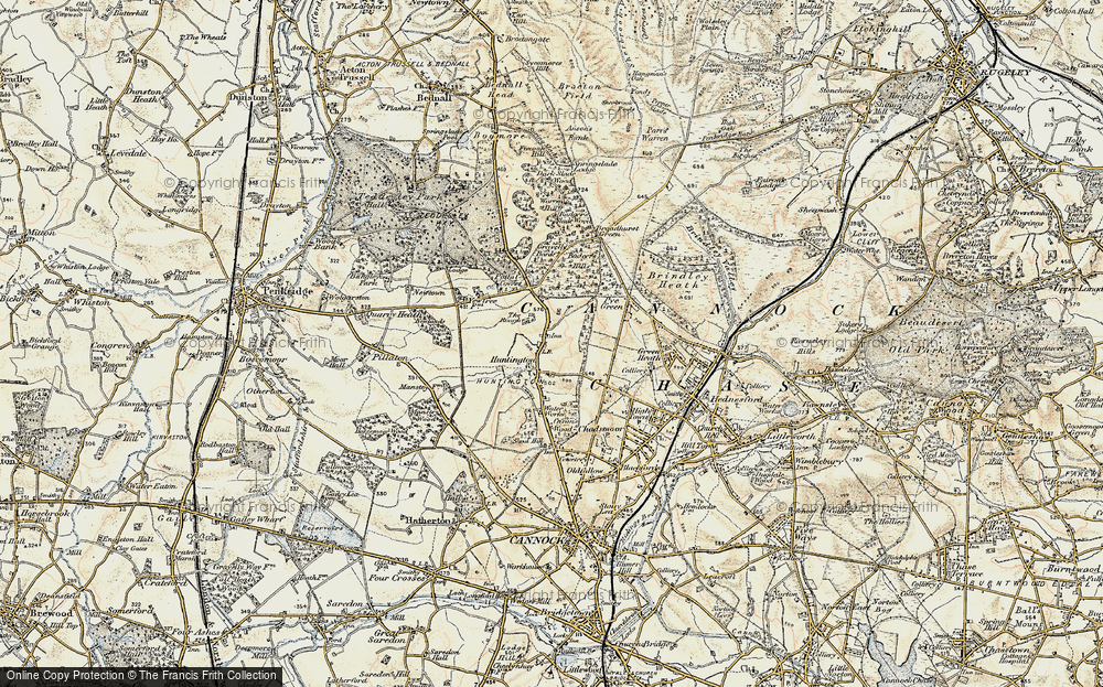 Old Map of Historic Map covering Badger's Hills in 1902