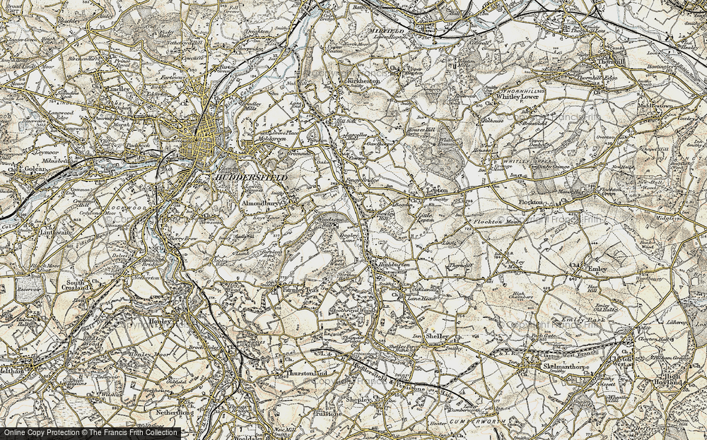 Old Map of Historic Map covering Almondbury Common in 1903