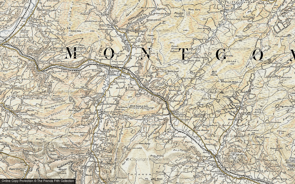 Old Map of Historic Map covering Afon Iaen in 1902-1903