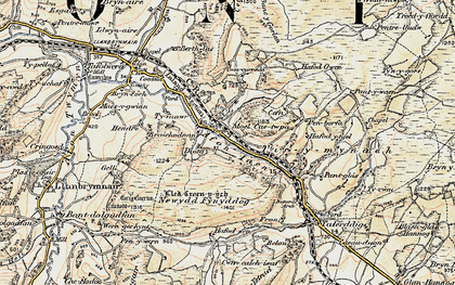 Old map of Afon Iaen in 1902-1903