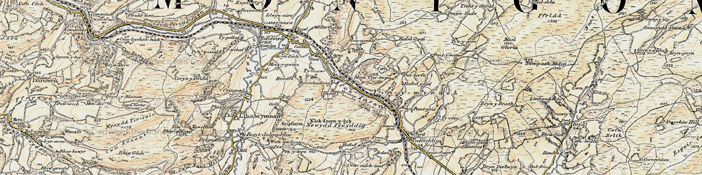 Old map of Afon Iaen in 1902-1903