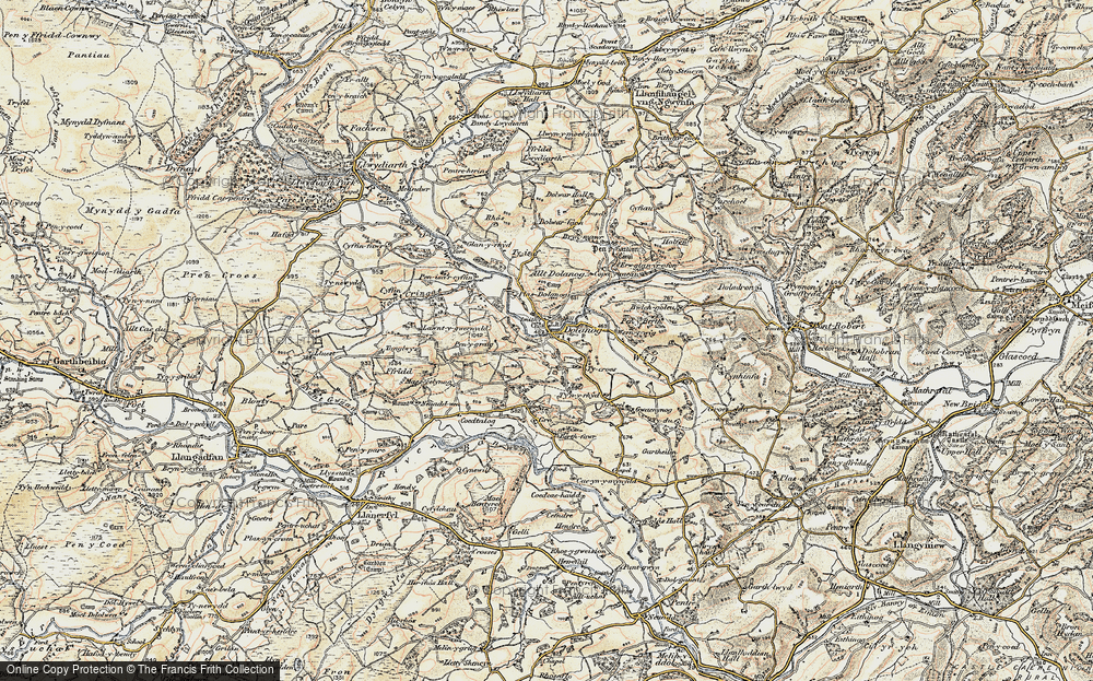 Old Map of Historic Map covering Allt Dolanog in 1902-1903