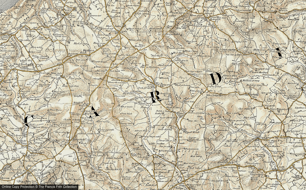 Old Map of Historic Map covering Alltmaen in 1901