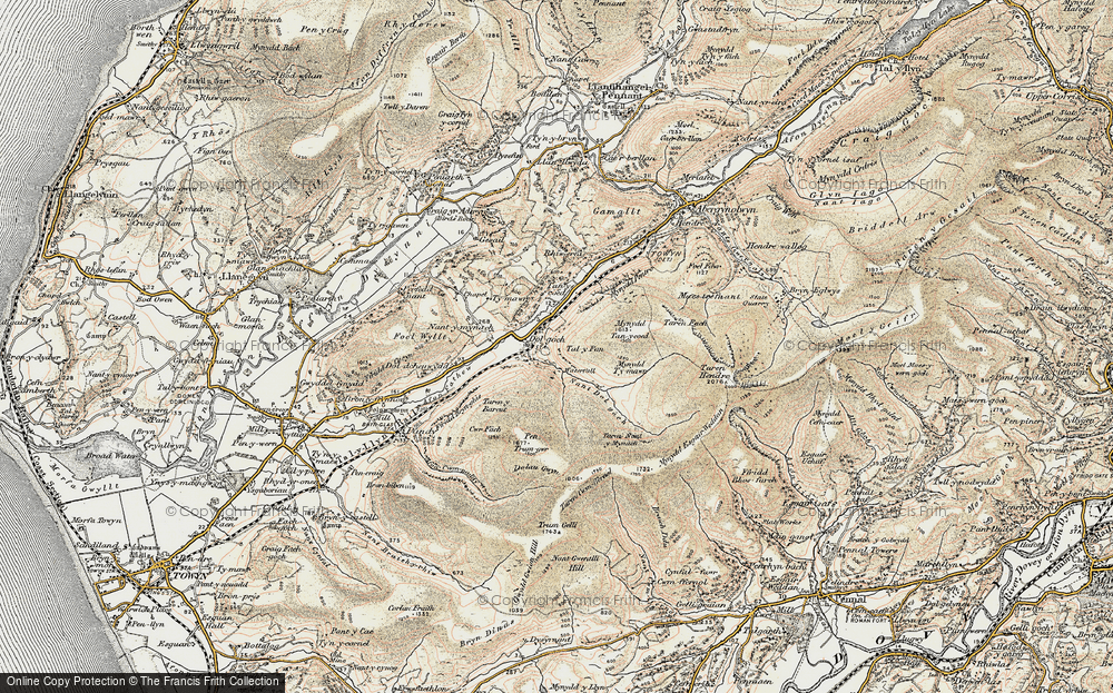 Old Map of Historic Map covering Afon Fathew in 1902-1903