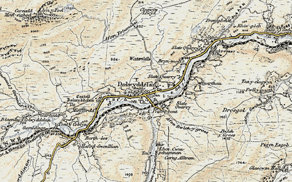 Old map of Afon Lledr in 1902-1903