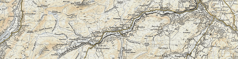 Old map of Afon Bwlch y Groes in 1902-1903