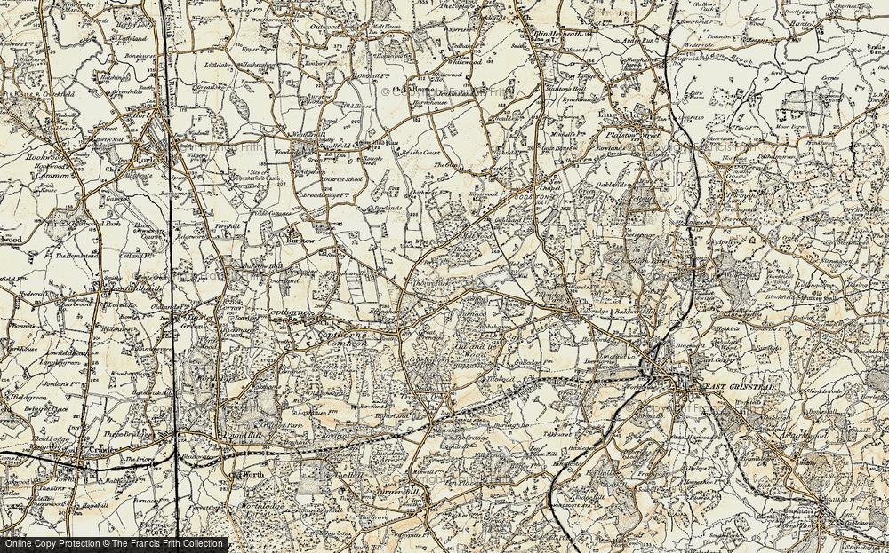 Old Map of Historic Map covering Baker's Wood in 1898-1902