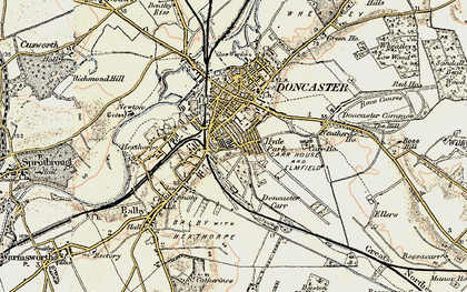 Old map of Doncaster in 1903