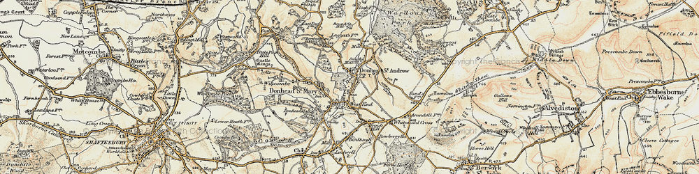 Old map of Donhead St Andrew in 1897-1909