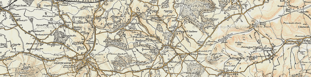 Old map of Wincombe in 1897-1909